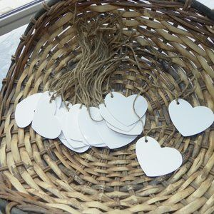 25 White Heart Burlap Tags Party Table